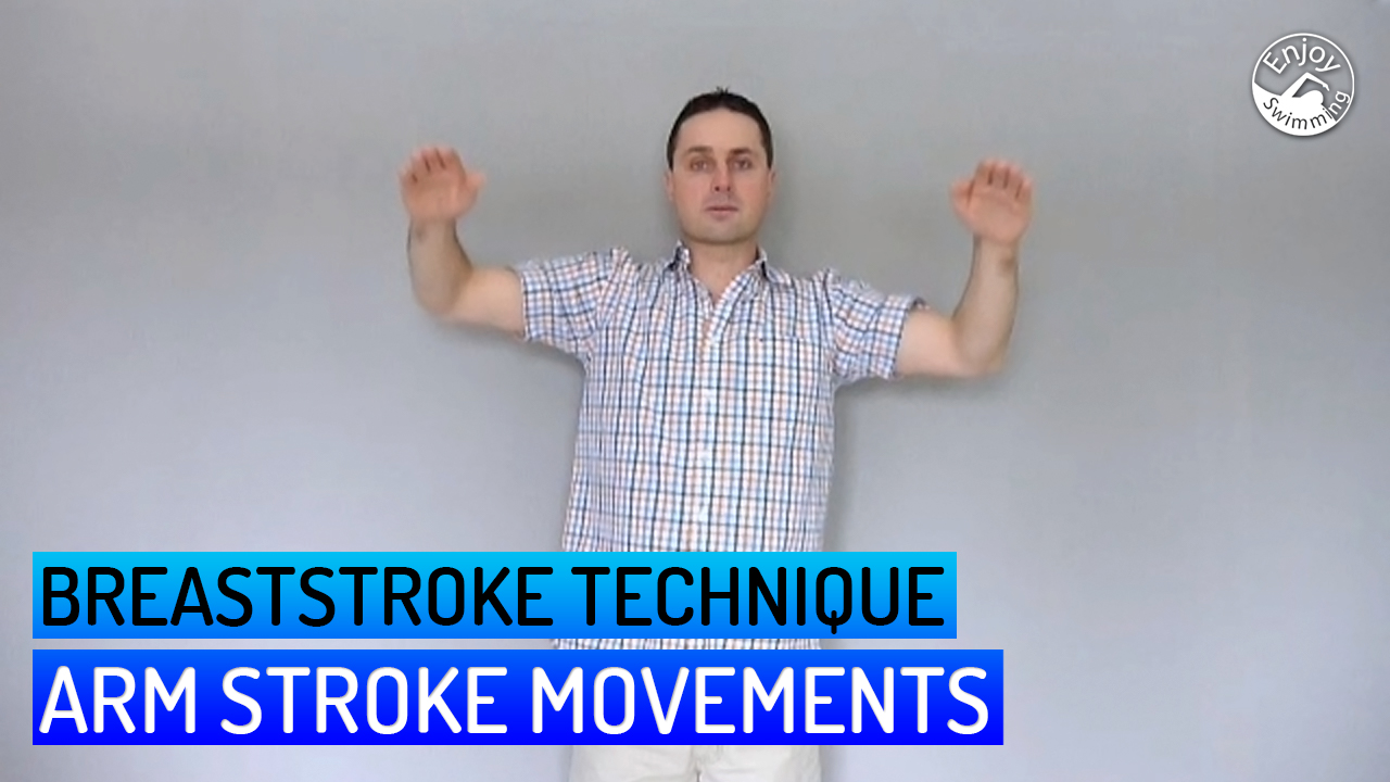 A swimming instructor shows how you can practice the arm movements of the breaststroke at home while standing