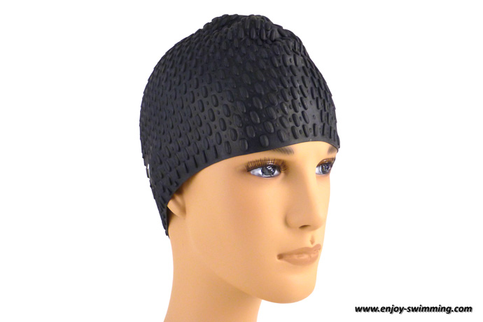 A bubble swim cap