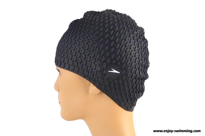 Bubble swim cap seen from behind