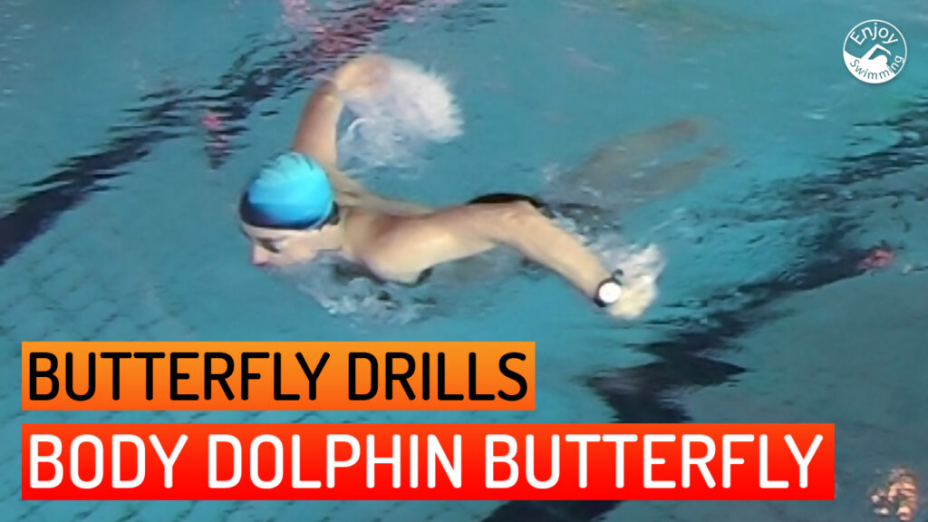 A novice swimmer who practices the body-dolphin butterfly stroke drill