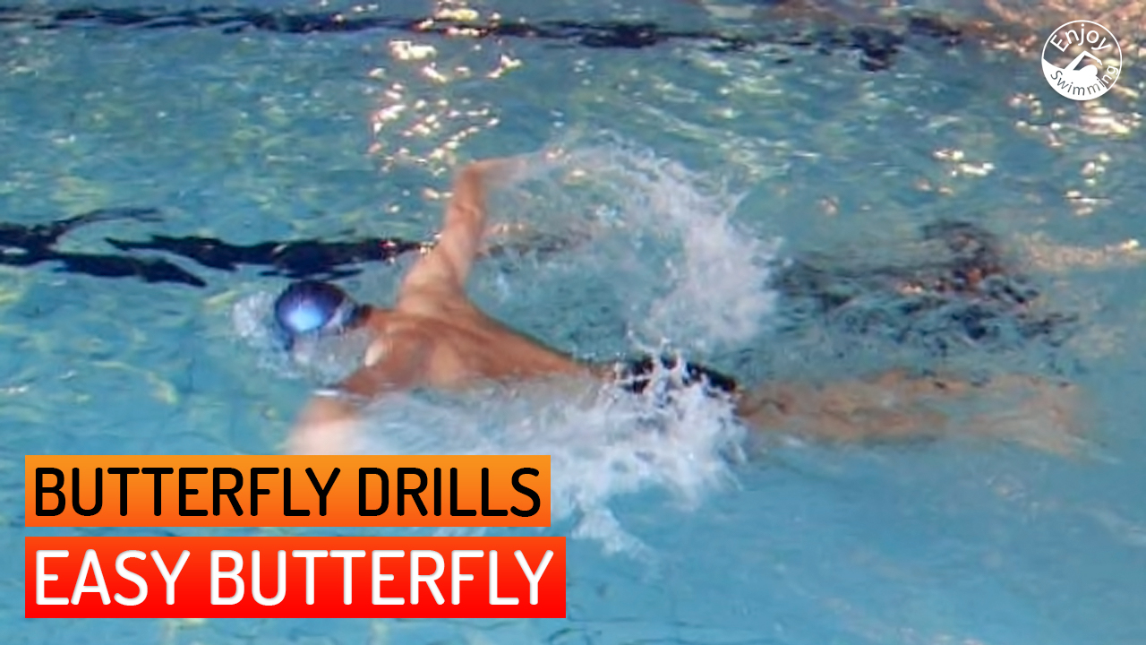 A novice swimmer who practices the easy butterfly drill for the butterfly stroke.