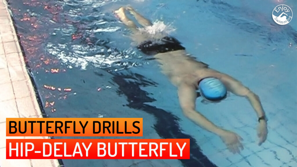 A novice swimmer who practices the hip-delay butterfly drill