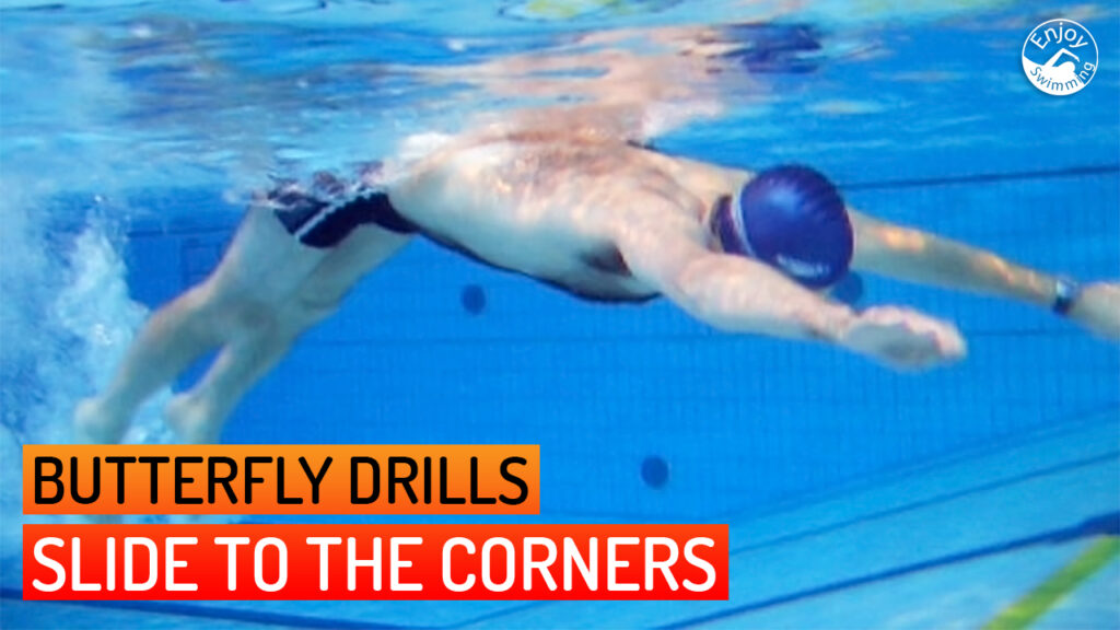 A novice swimmer who practices the slide to the corners drill for the butterfly stroke