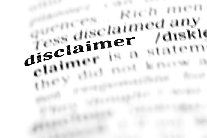 "A zoom on the ""disclaimer"" word visible on a dictionary page"