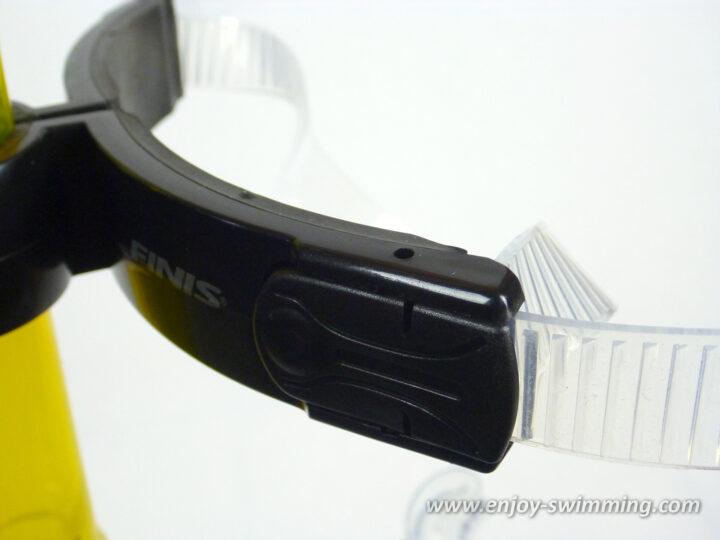 Swimmer's snorkel - strap adjustment button