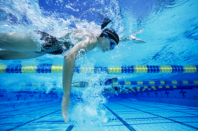 A front crawl swimmer that uses a high elbow position during the underwater phase of the arm stroke.