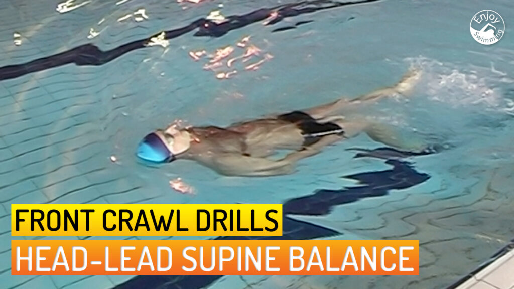 A novice swimmer who practices the head-lead supine balance drill for the front crawl stroke.