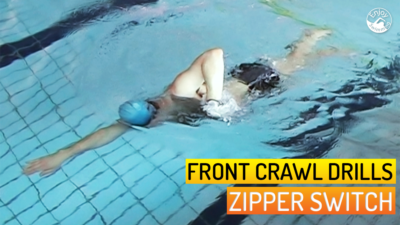 A novice swimmer who practices the zipper drill for the front crawl stroke.