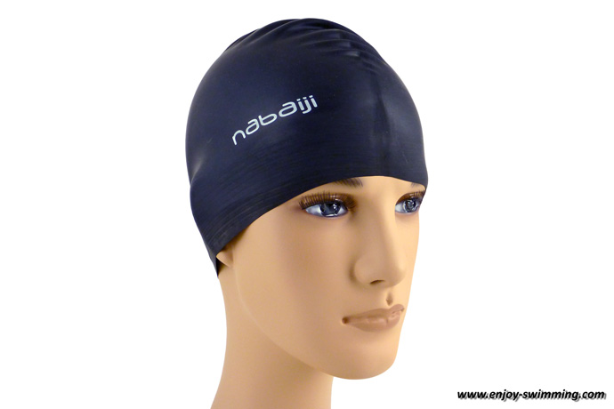 A latex swim cap