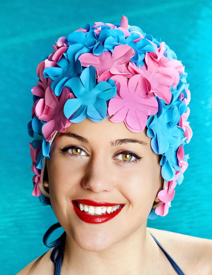 A retro style swim cap