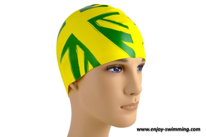 A silicone swim cap