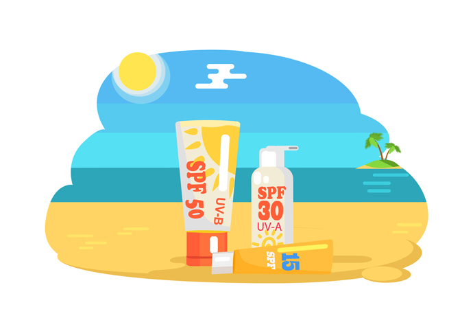 A drawing of a set of sunscreen bottles with a high sun protector factor and with a beach and the sea in the background.