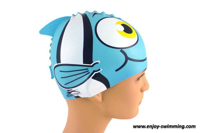 A shark fin swim cap seen from the side