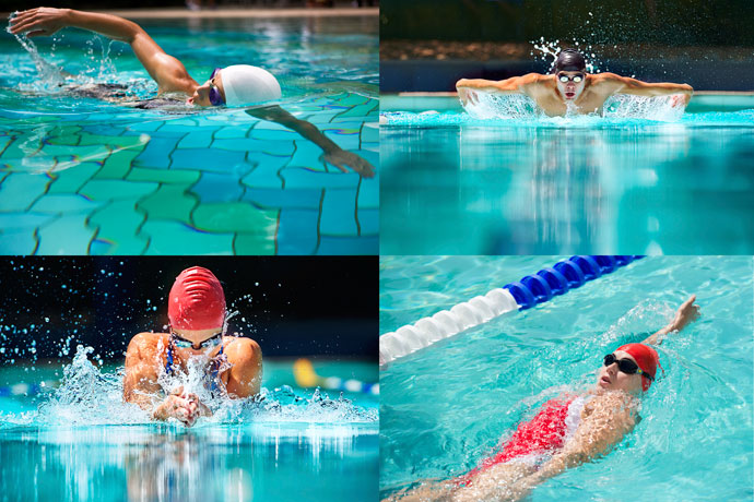A mosaic of the four swimming strokes used in competition: front crawl, butterfly, breaststroke, and backstroke.